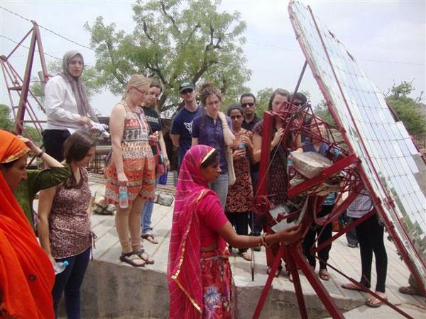 Hindi students at a field work